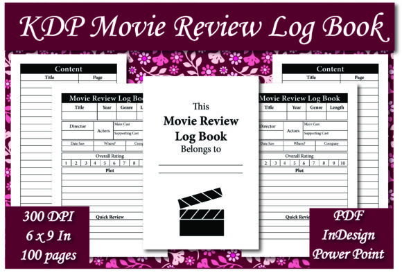 Print on Demand: KDP Movie Review Log Book Interior Graphic KDP Interiors By Ivana Prue