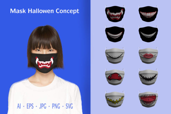 Print on Demand: Mask Themes Halloween Concept Graphic Illustrations By OCS Studio