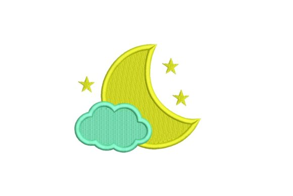 Moon and Cloud Design Embroidery