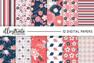 Print on Demand: Navy and Coral Seamless Vector Patterns Graphic Patterns By illuztrate