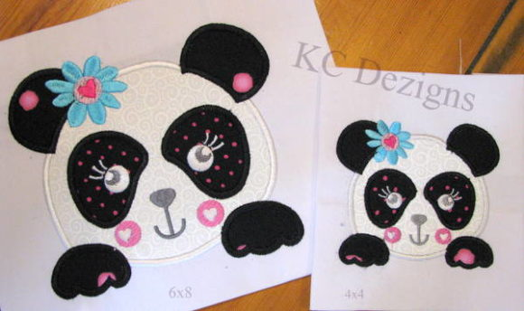 Panda Face Applique Wild Animals Embroidery Design By karen50