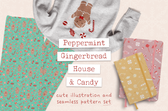 Peppermint Gingerbread House & Candy Graphic Illustrations By Crystal Whitlow