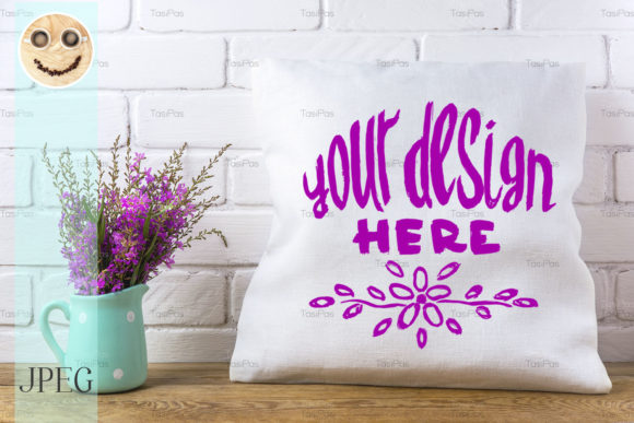 Print on Demand: Pillow Mockup with Magenta Wildflowers Graphic Product Mockups By TasiPas