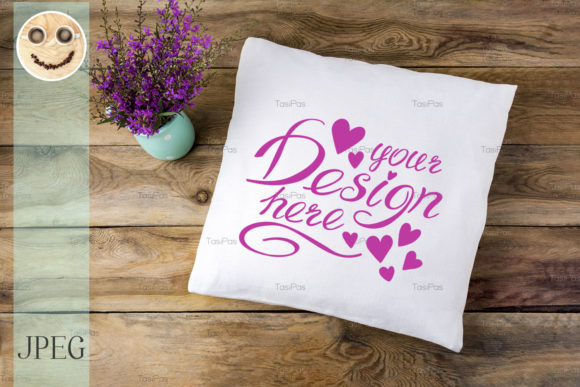 Print on Demand: Pillow Mockup with Purple Wildflowers Graphic Product Mockups By TasiPas