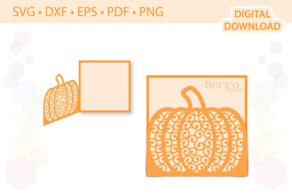 Pumpkin Fall Greetings Card Template Graphic 3D SVG By SerraDigital