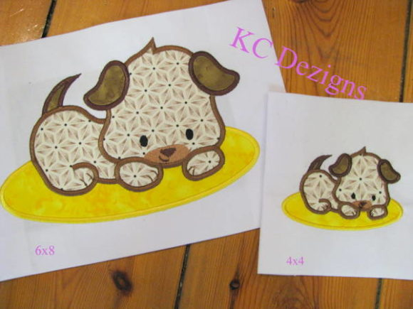 Puppy Lying on Mat Applique Dogs Embroidery Design By karen50