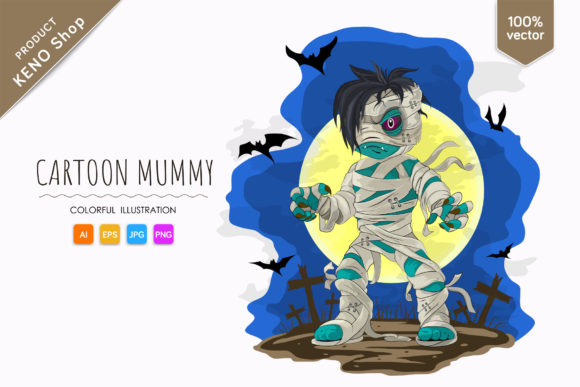 Scary Cartoon Mummy Graphic Illustrations By andreykeno2020
