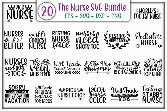 Print on Demand: The Nurse SVG Design Bundle Graphic Print Templates By GraphicsBooth