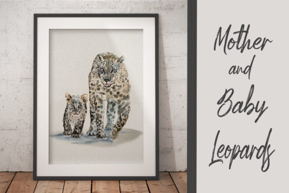 Watercolor Mother and Baby Leopards Graphic Illustrations By tatibordiu