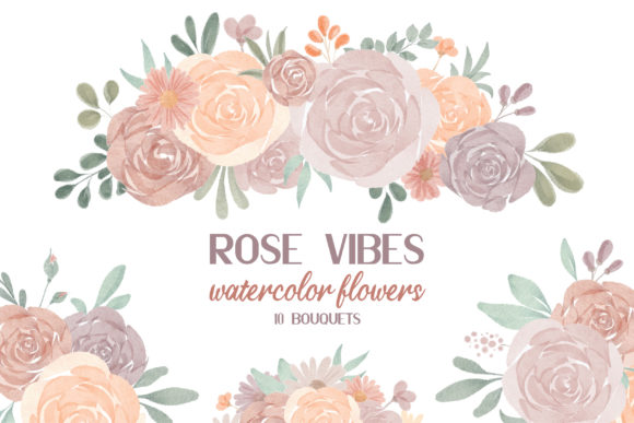Print on Demand: Watercolor Roses Bouquets, Blush Roses Graphic Illustrations By Craft Point Art