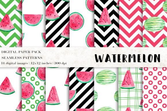Watermelon Digital Papers Graphic Patterns By BonaDesigns