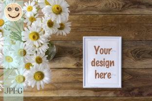 Print on Demand: White Small Frame Mockup with Daisy Wild Graphic Product Mockups By TasiPas