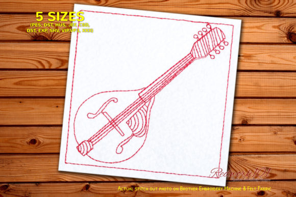 Wood Mandolin Design Music Embroidery Design By Redwork101