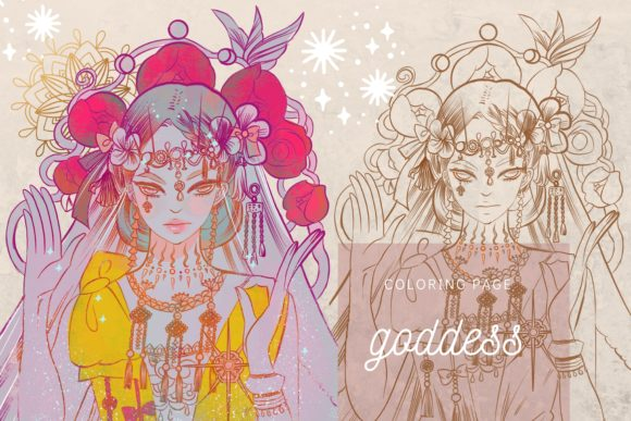 Print on Demand: Goddess Lineart Digistamp Coloring Page Graphic Coloring Pages & Books Adults By meisanmui