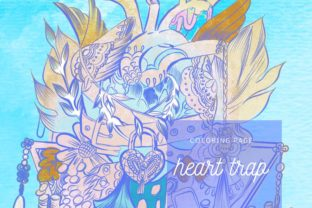 Print on Demand: Heart Trap Lineart Coloring Page Graphic Coloring Pages & Books Adults By meisanmui