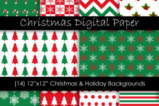 Red & Green Christmas Patterns Graphic Patterns By GJSArt