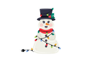 Snowman Wrapped in Christmas Lights Christmas Craft Cut File By Creative Fabrica Crafts