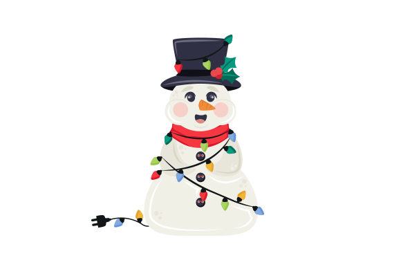 Snowman Wrapped in Christmas Lights Weihnachten Plotterdatei von Creative Fabrica Crafts
