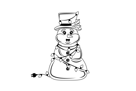 Snowman Wrapped in Christmas Lights Cut File Download