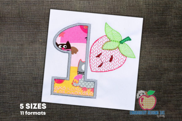 1st Birthday Strawberry Applique Birthdays Embroidery Design By embroiderydesigns101