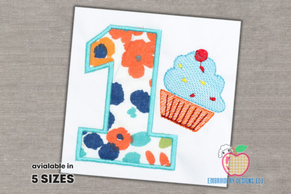 1st Birthday with Cup Cake Applique Birthdays Embroidery Design By embroiderydesigns101