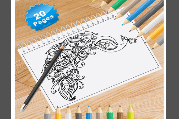 Print on Demand: 20 Peacock Coloring Pages for Adults Graphic Coloring Pages & Books Adults By Coloring World