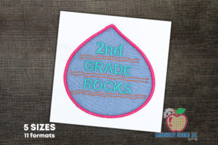 2nd Gade Rocks School Applique School & Education Embroidery Design By embroiderydesigns101