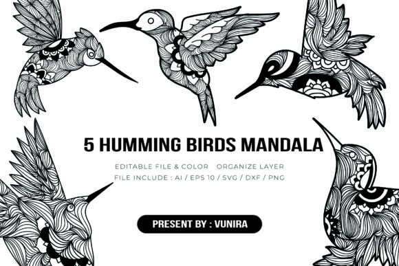 Print on Demand: 5 Humming Bird Bundle | Mandala Graphic Crafts By Vunira