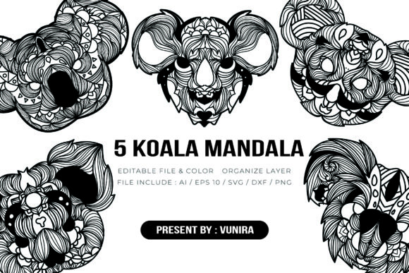 Print on Demand: 5 Koala Bundle | Mandala Graphic Crafts By Vunira
