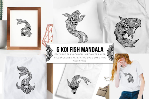 Print on Demand: 5 Koi Fish Bundle | Mandala Graphic Crafts By Vunira