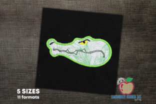 Alligator Head Applique Reptiles Embroidery Design By embroiderydesigns101