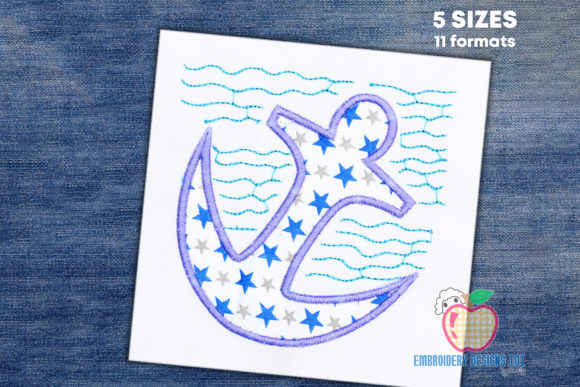 Anchor Applique Transportation Embroidery Design By embroiderydesigns101