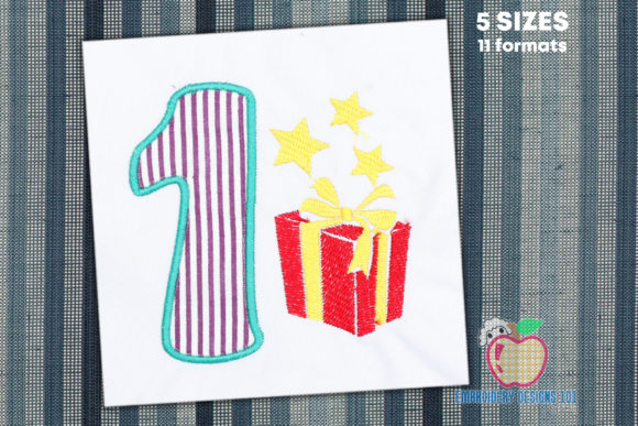 Birthday Number 1 with Gift Box Applique Birthdays Embroidery Design By embroiderydesigns101