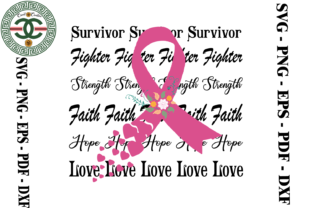 Print on Demand: Breast Cancer Awareness Ribbon Vetcor Grafik Druck-Templates von Cricut Creation