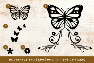 Print on Demand: Butterfly Bundle with SVG, EPS, PDF, EPS Graphic Illustrations By Pixtordesigns