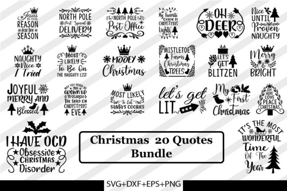 Print on Demand: Christmas  20 Quotes Bundle Graphic Print Templates By SVG_Huge