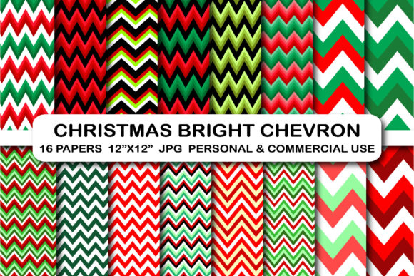 Christmas Chevron Digital Papers Zigzag Graphic Backgrounds By bestgraphicsonline