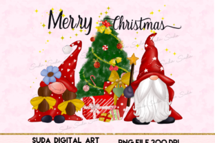Print on Demand: Christmas Cute Gnomes Sublimation Graphic Illustrations By Suda Digital Art