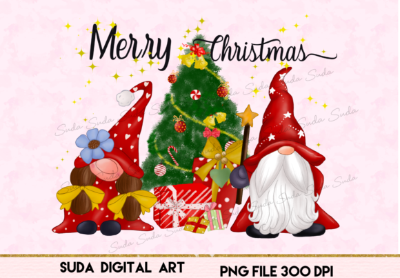 Print on Demand: Christmas Cute Gnomes Sublimation Grafik Illustrationen von Suda Digital Art