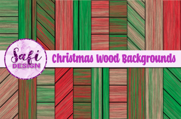 Print on Demand: Christmas Wood Backgrounds Graphic Backgrounds By Safi Designs