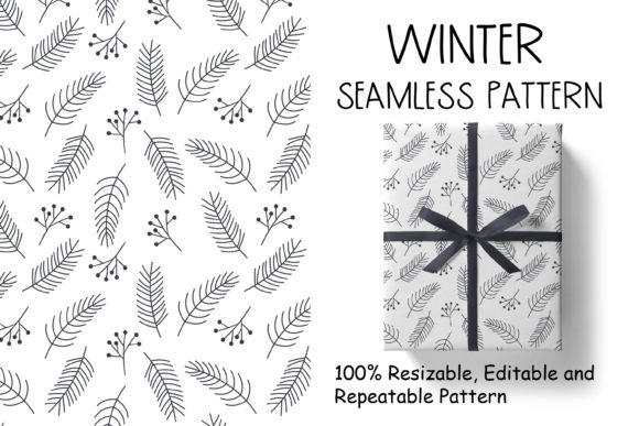 Christmas Pattern with Pine Branches Graphic Patterns By veidgenn