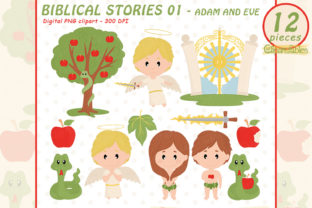 Cute Adam and Eve Clipart - Biblical Art Graphic Illustrations By clipartfables