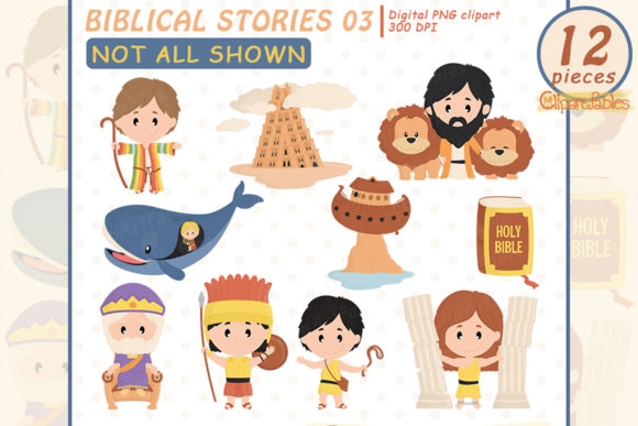 Cute Biblical Stories Clipart for Kids Graphic Illustrations By clipartfables