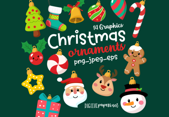 Print on Demand: Cute Christmas Ornaments Graphic Illustrations By DigitalPapers