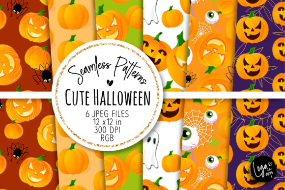 Print on Demand: Cute Halloween Seamless Patterns 2 Gráfico Moldes Por loyaarts