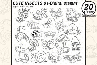 Cute Insects - Digital Stamps Graphic Illustrations By clipartfables