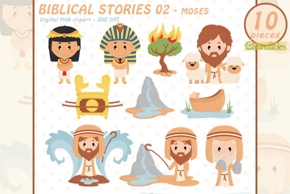 Cute Moses Clipart, Biblical Stories Graphic Illustrations By clipartfables