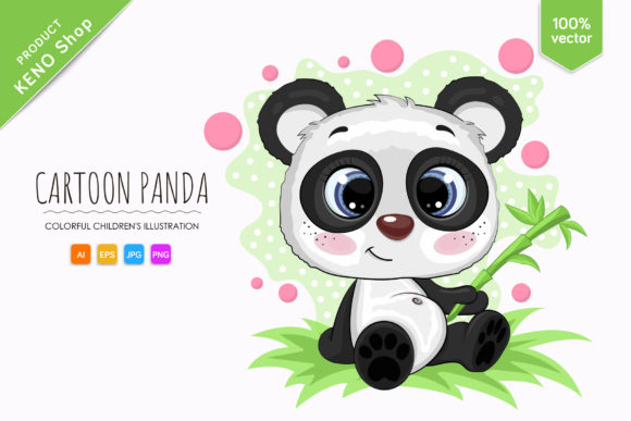 Cute Cartoon Panda Graphic Illustrations By Keno Shop