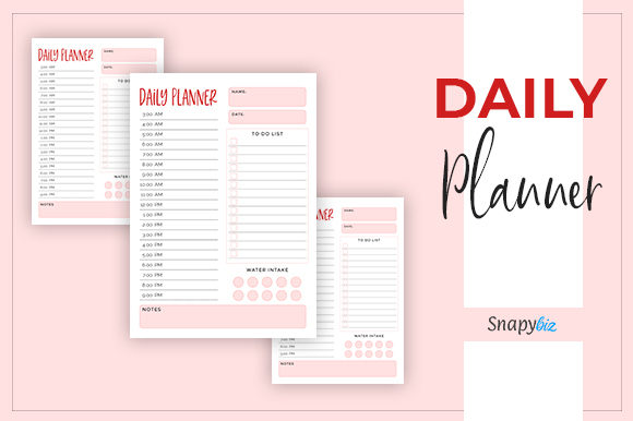 Print on Demand: Daily Planner | Printable Graphic Print Templates By SnapyBiz