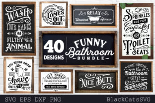 Print on Demand: Funny Bathroom Bundle SVG 40 Designs Vol Graphic Crafts By BlackCatsMedia